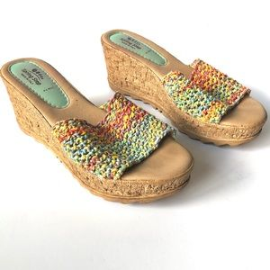 Spring Step Multicolored Woven Wedge Sandal